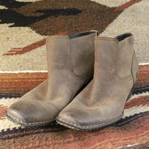 Born Olive Leather Booties